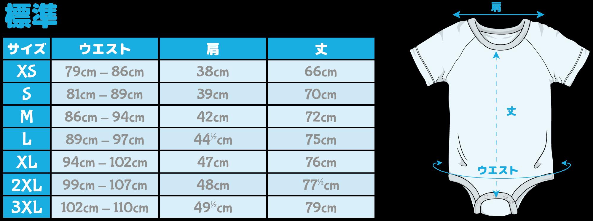 Standard Onesie Sizing Chart
